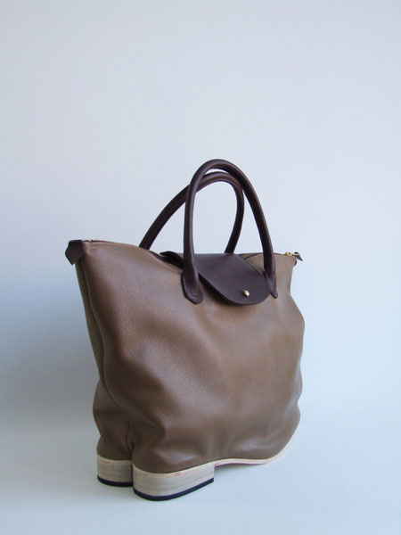 Shoebags - Flat Heel Flap Tote Bag, Latte - Azumi and David ...