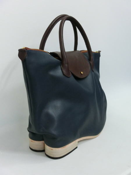 Shoebags - Flat Heel Flap Tote Bag, Navy - Azumi and David ...