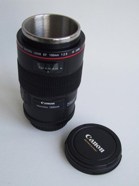 Things we like canon 100mm thermos lens mug azumi for Canon photo lens mug