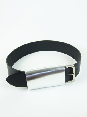 Luxury Covered Buckle Belt, silver/black (wide)