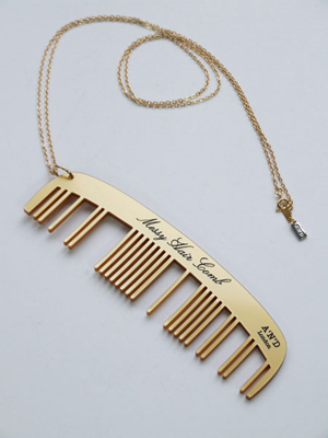 Messy Hair Comb Necklace (Gold)