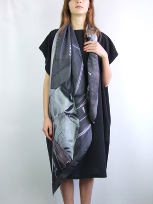 Rags to Riches Scarf - Monotone Suit Print