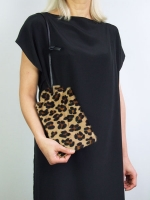 Price tag clutch - Leopard print calf hide
