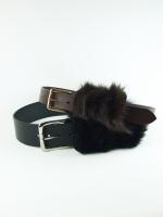 Luxury Covered Buckle Belt, black/black (sheep hair) - Other Image