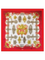 Pixel silk scarf - red