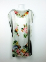 Pixel little black dress - multicoloured flowers