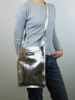 Bookshop Bag with Shoulder Strap, Small (Silver) - Other Image
