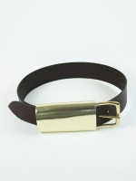 Luxury Covered Buckle Belt, gold/brown (wide)