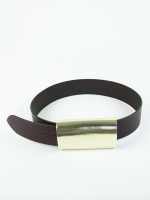 Luxury Covered Buckle Belt, gold/brown (wide) - Other Image