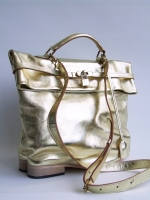 Flat Heel Kelly Bag, Gold