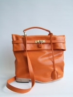 Flat Heel Kelly Bag, Orange