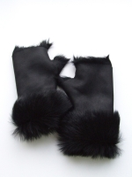 Toscana Turn-up Mittens - Black - Other Image