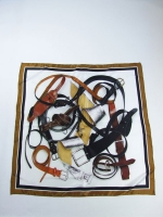 Belt Print Silk Scarf (white) - Other Image