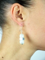 Pearl & Nut Earrings - Silver